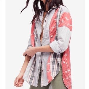 Free People All Patched Up Classic Button Down XS